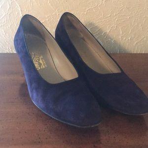 Salvatore Ferragamo Shoes - Salvatore Ferragamo Purple Calf Suede Shoes
